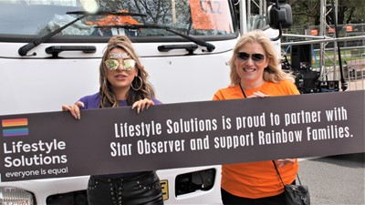 Jaqueline  Machado and Elizabeth Knight lead the march for Lifstyle Solutions.jpg